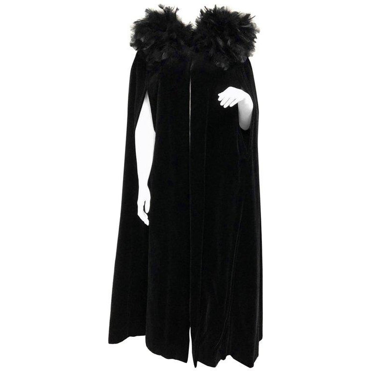 French Vintage Full Length Black Velvet and Feather Cape