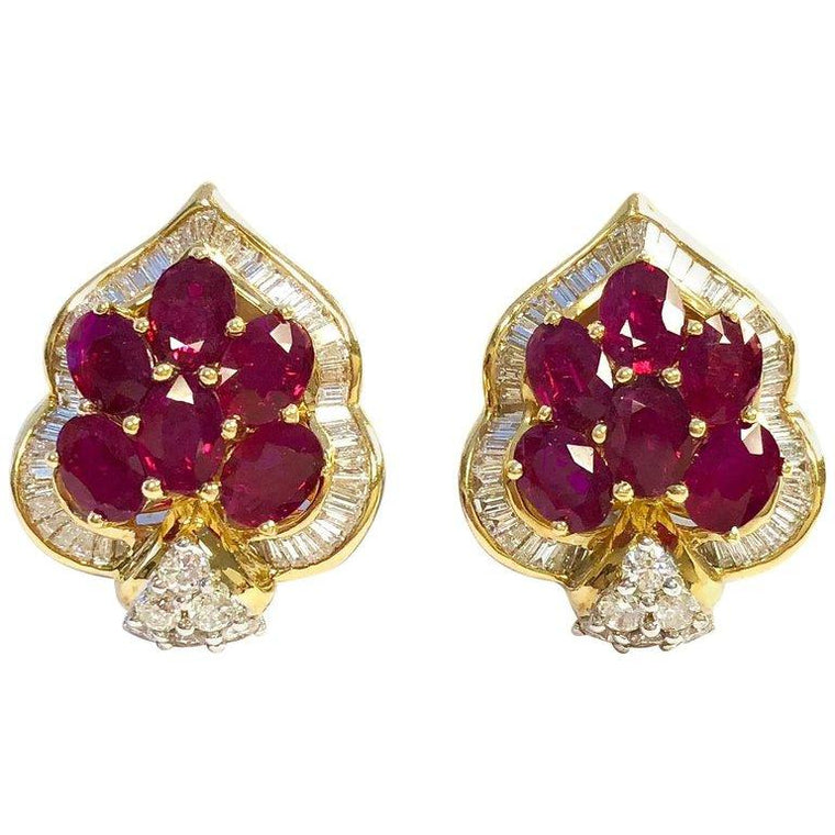 8 Carats of Rubies and 3 Carats of Diamonds 18K Gold Cluster Earrings