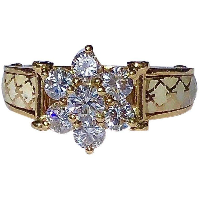 Korloff Paris Diamond and Enamel 18K Yellow Gold Ring