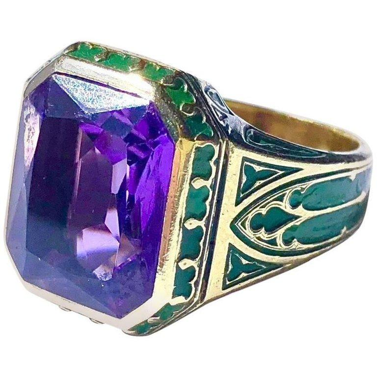 Vintage Amethyst and Cathedral Window Design Green Enamel Gold Ring