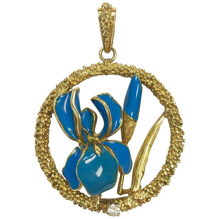 Vintage Merr France Enamel and Diamond Iris 18K Gold Pendant