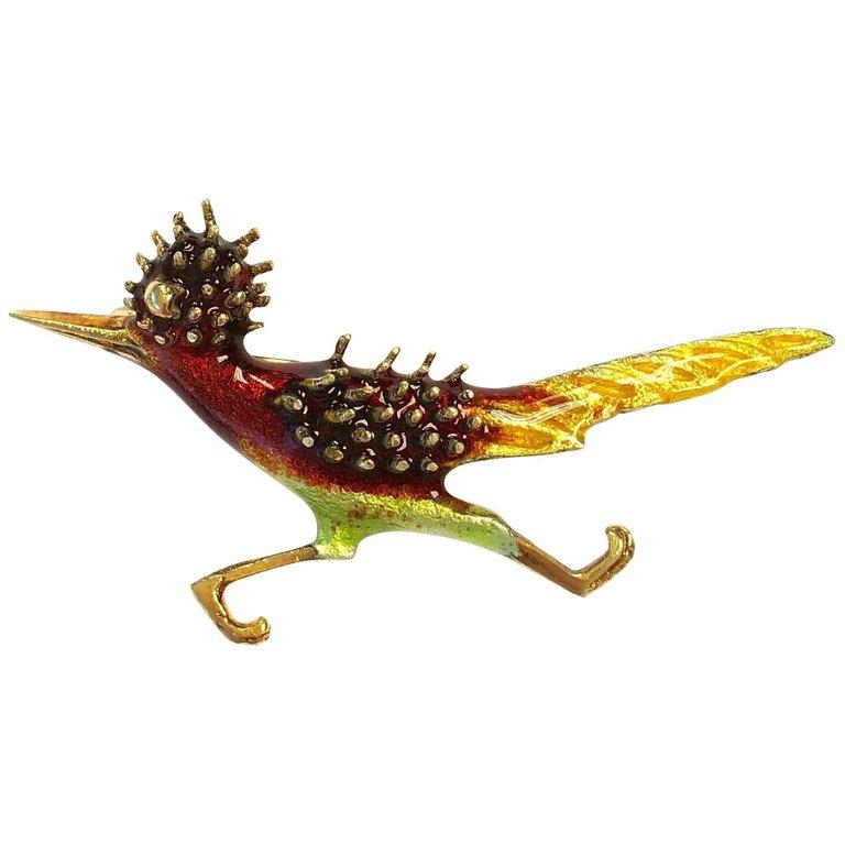 Vintage Road Runner Enamel and Gold Bird Brooch