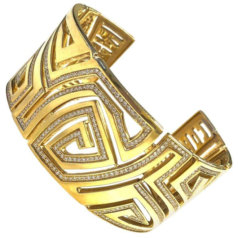 Corrupt Design Large Diamond 18K Gold Cuff Bracelet