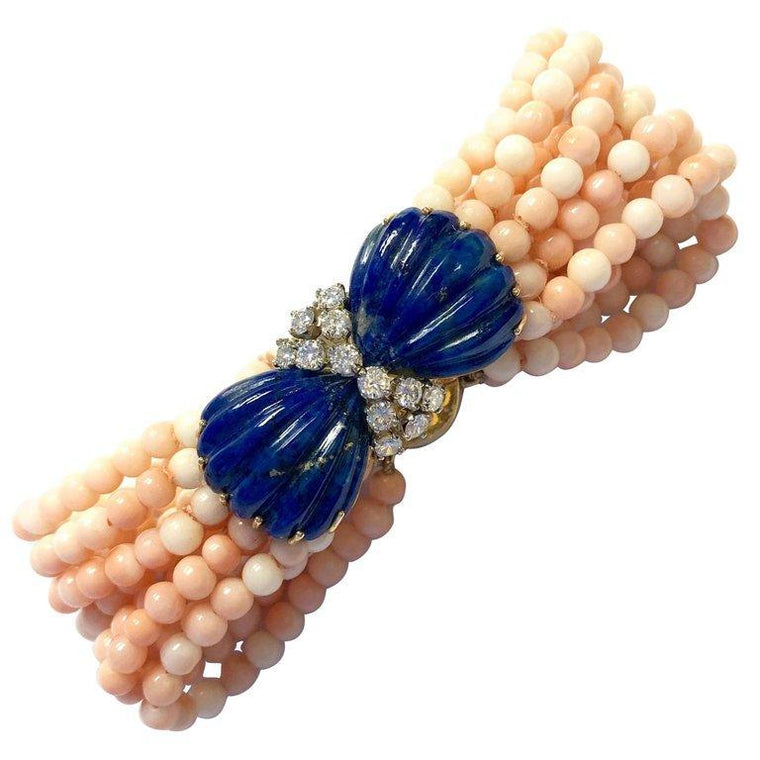 Lapis Lazuli Diamond and Angel Skin Coral 18K Gold Bracelet
