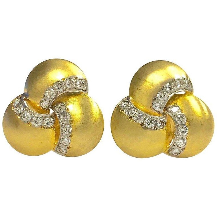 Esther Gallant Diamond and 14K Gold Earrings
