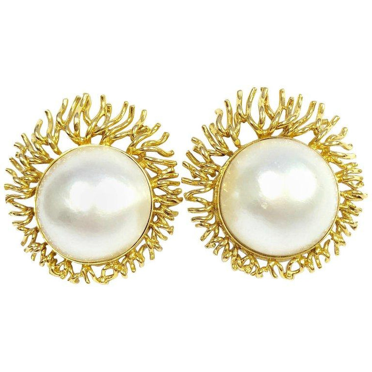 Vintage 20 MM South Sea Mabe Pearl and 18K Yellow Gold Sunburst Clip-On Earrings