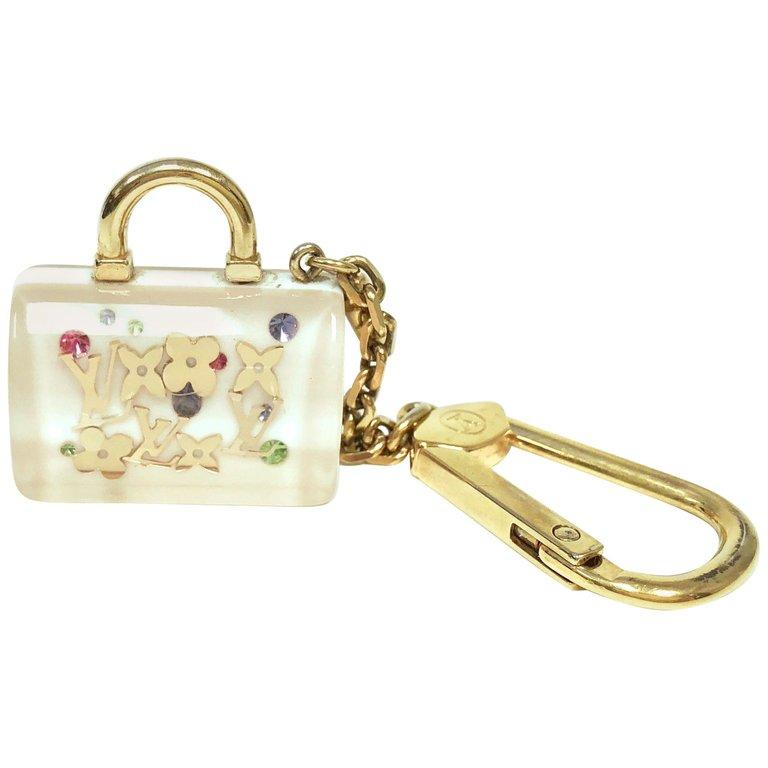 19c1761ba1ff ... LOUIS VUITTON White Inclusion Speedy Key Holder and Bag Charm ...
