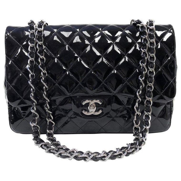Chanel Classic Quilted Jumbo Single Flap Black Patent Bag d3cf931a73
