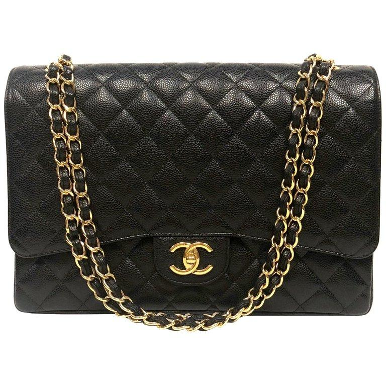a6453d0d3f1b CHANEL Classic Double Flap Jumbo Black Caviar Gold Hardware - HIGHKARAT
