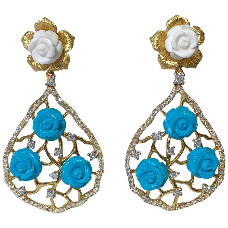 Hand Carved White Coral Turquoise Flowers and Diamond 18K Gold Chandelier Earrings