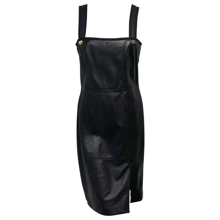 Salvatore Ferragamo Black Leather Dress