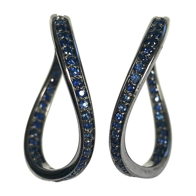 Antonini Volcano Sapphire 18K Gold Hoop Earrings