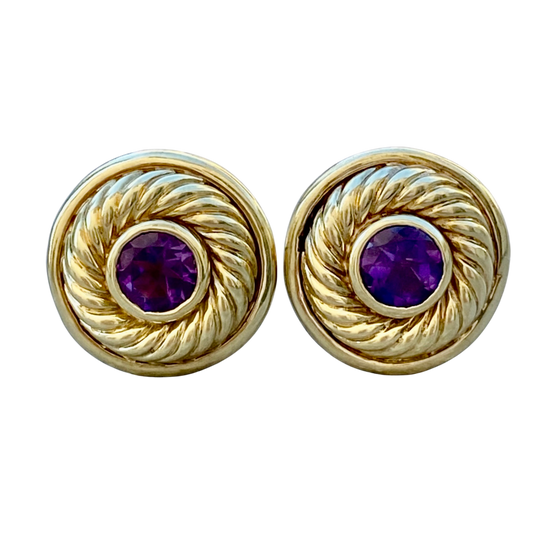 David Yurman Amethyst 14K Gold Rope Earrings