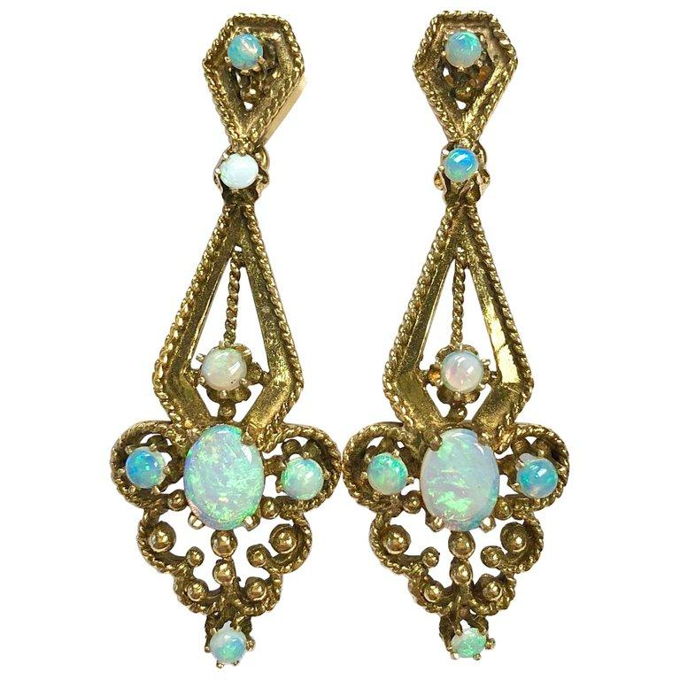 Vintage Opal and 14K Gold Pendant Earrings