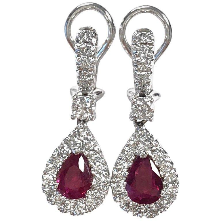 Burma Ruby and Diamond 18K White Gold Earrings