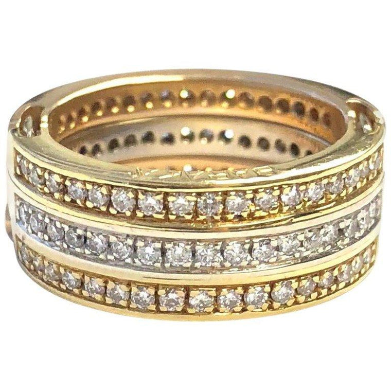 Baraka Tri Color Gold Diamond Convertible Band Ring