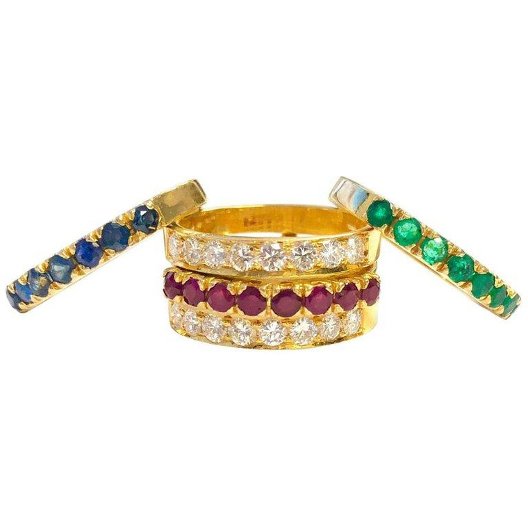 Emerald Ruby Sapphire and Diamond Interchangeable 22K Gold Ring Set