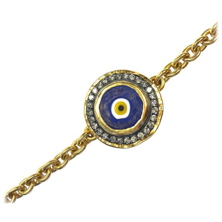 Ara Diamond Set Evil Eye Gold Link Bracelet