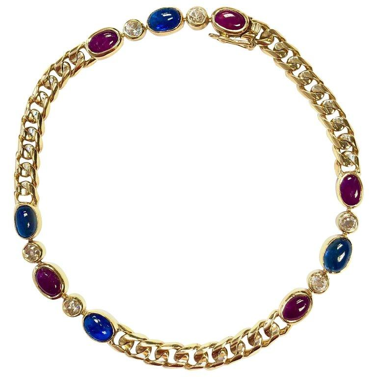 Antique French Ruby Sapphire Diamond 18K Gold Bracelet
