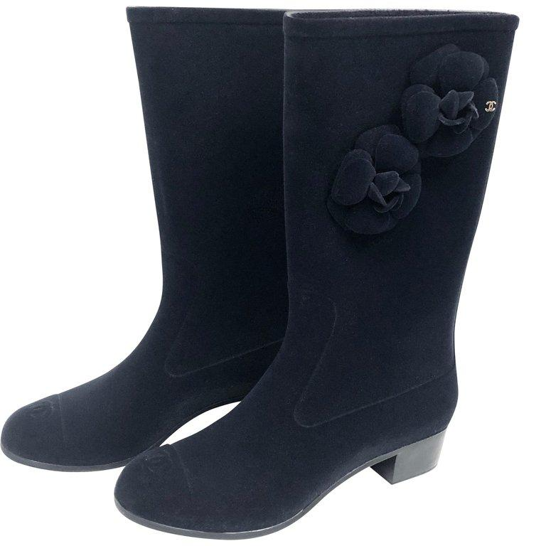 Chanel Rain Boots with Camellias Size 38