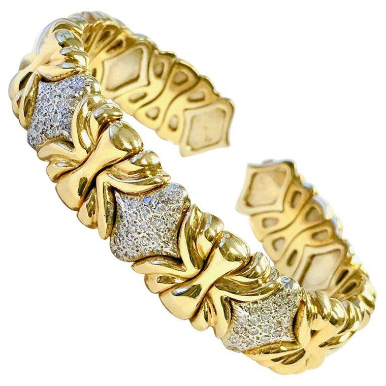 Flexible Diamond Two-Tone 18K Gold Cuff Bracelet