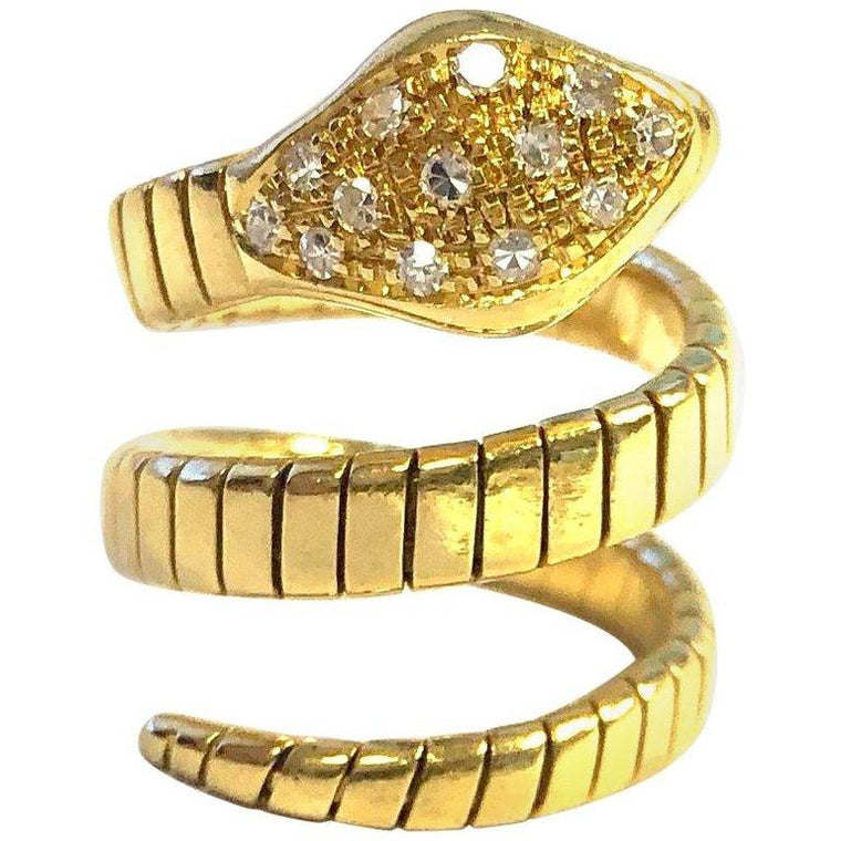 Flexible 18K Yellow Gold Diamond Set Snake Ring