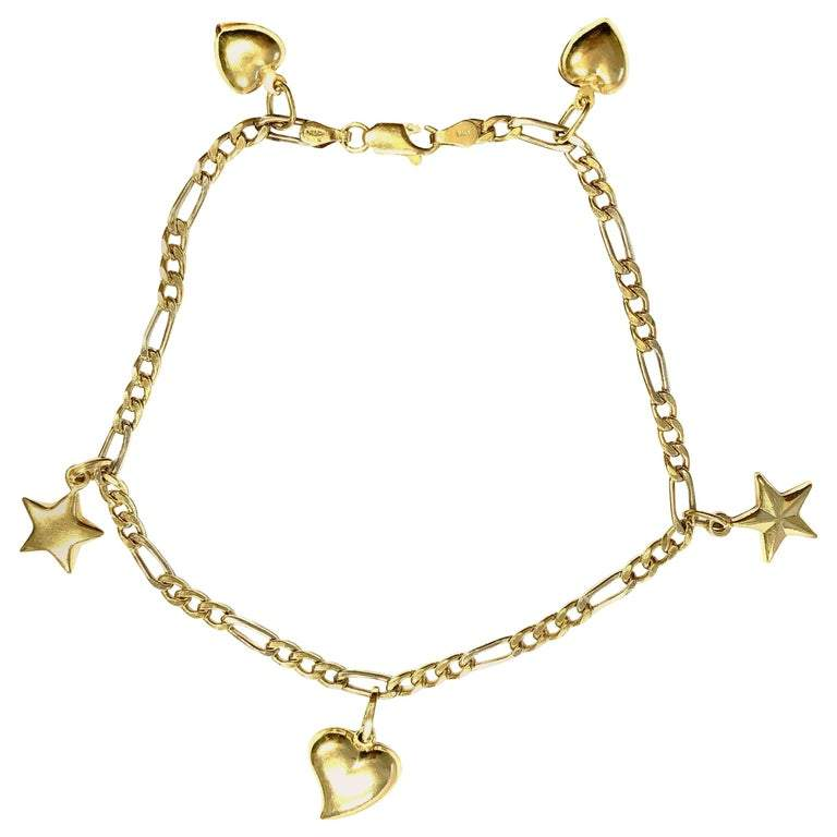 18 Karat Yellow Gold Anklet with Five Charms