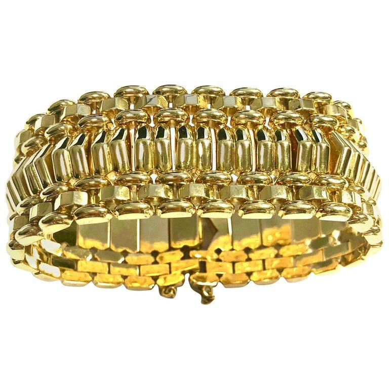 Large Solid 18K Yellow Gold Vintage Bracelet