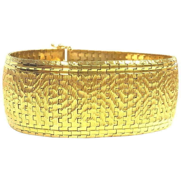 Vintage Wide Brushed Gold Bracelet