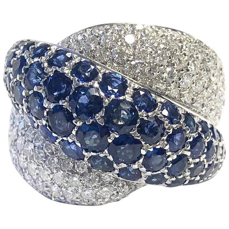 Primera Pave Set Sapphire and Diamond Crossover Ring