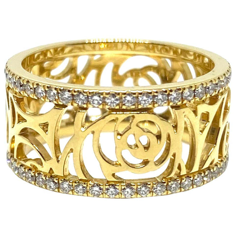 Chanel Camelia Ajoure Rose 18 Karat Gold Diamond Band