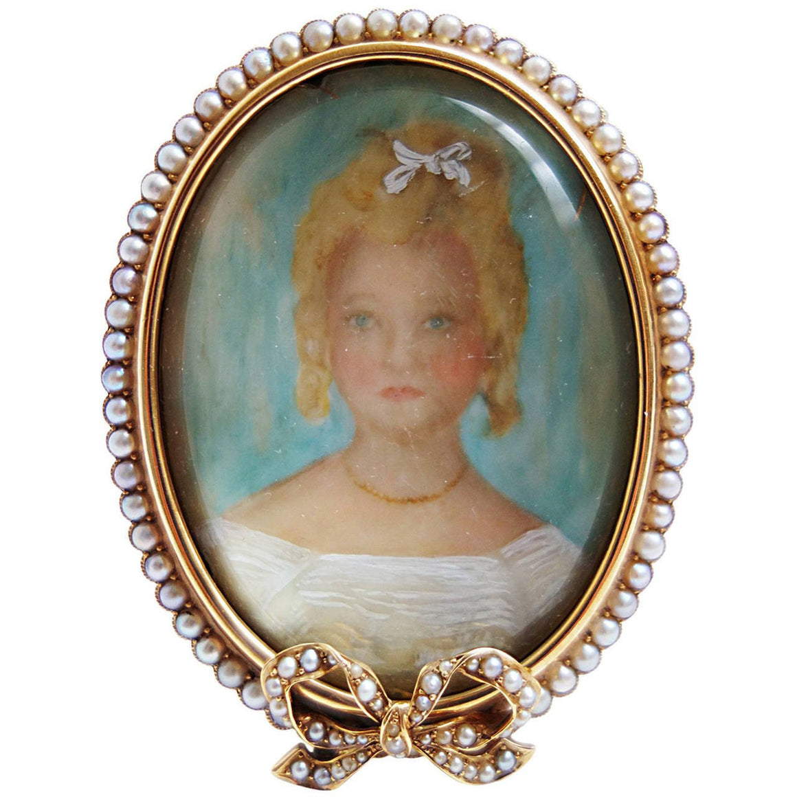 Antique Pearl Gold Portrait Miniature Picture Frame