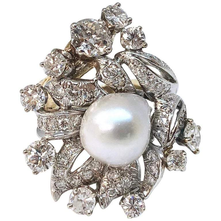 South Sea Pearl and 2.2 Carats of Diamonds Gold Cocktail Ring