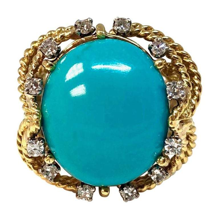 Vintage Turquoise and Diamond 18K Gold Ring