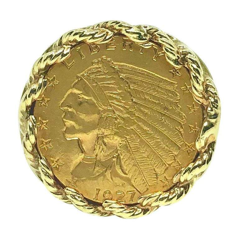 1927 2 1/2 Dollar Indian Head Quarter Eagle Gold Coin Ring