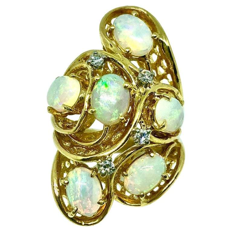Vintage Opal Diamond Cluster 18K Gold Ring
