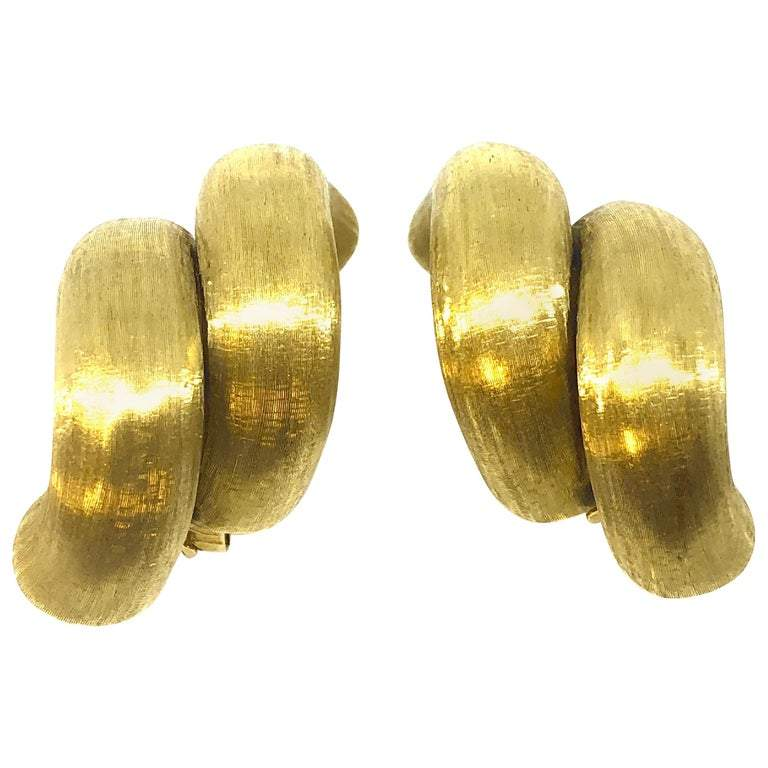 Large San Marco Style Satin Finish 18K Gold Earrings