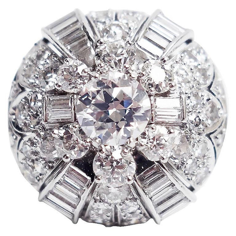 Vintage Diamond Platinum Dome Ring