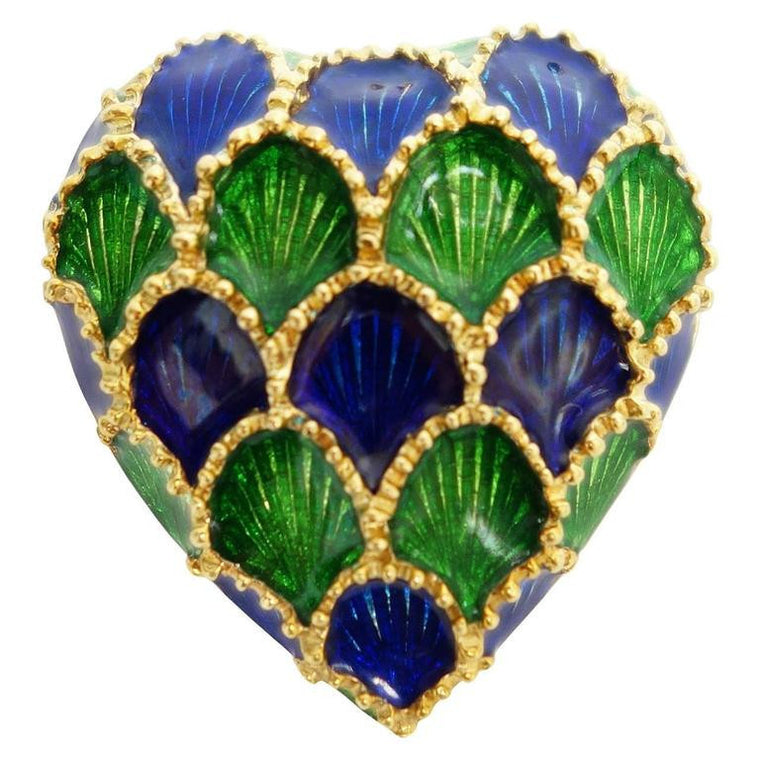 Tiffany & Co. Blue and Green Enamel 18K Gold Heart Pin Pendant