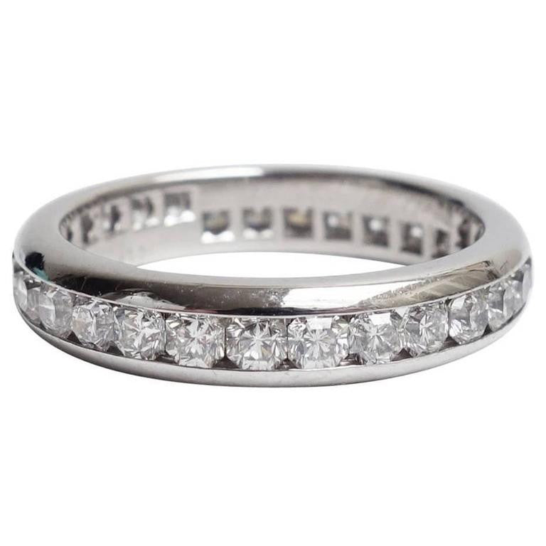 eternity platinum bands ring diamond princess carat band full cut