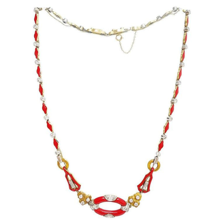 Art Deco Red Enamel Diamond Gold Platinum Necklace