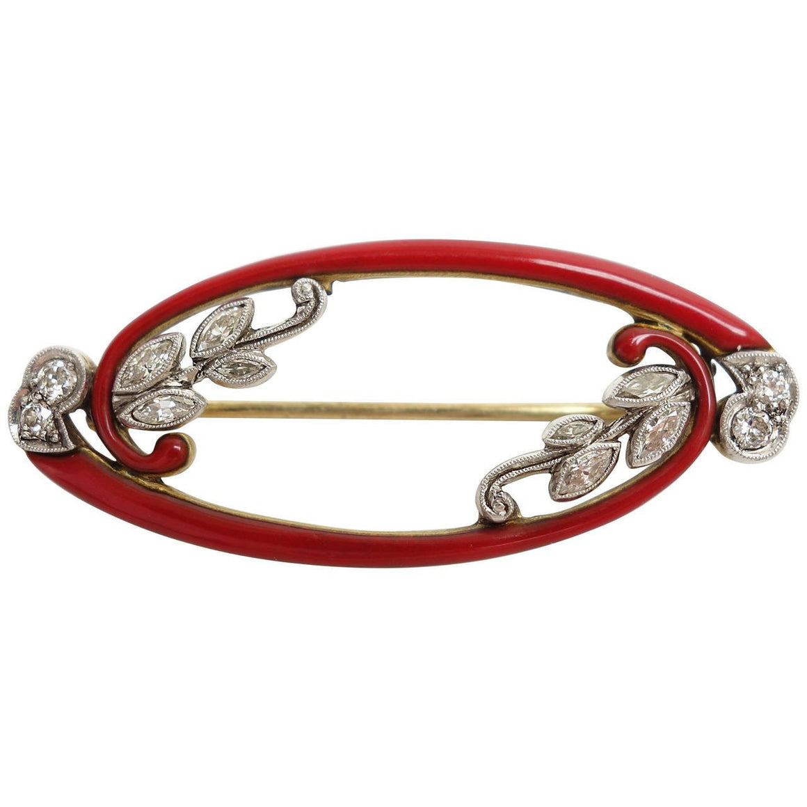 Art Deco Red Enamel Diamond Gold Platinum Brooch
