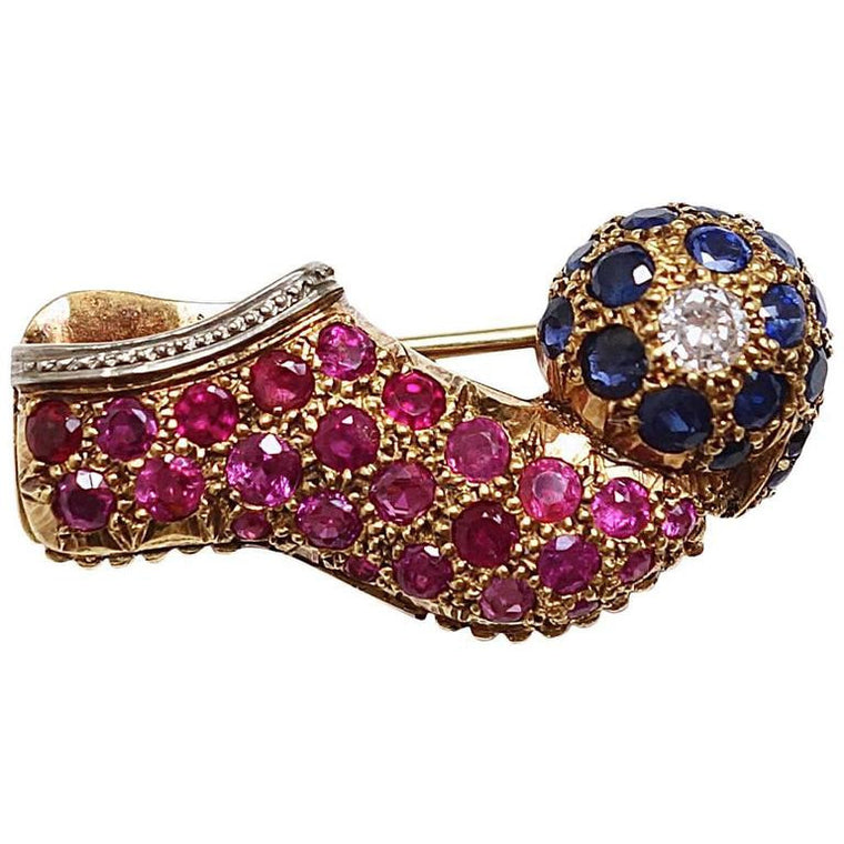 Vourakis Tsarouhi Ruby Sapphire & Diamond Gold 18K and Platinum Brooch