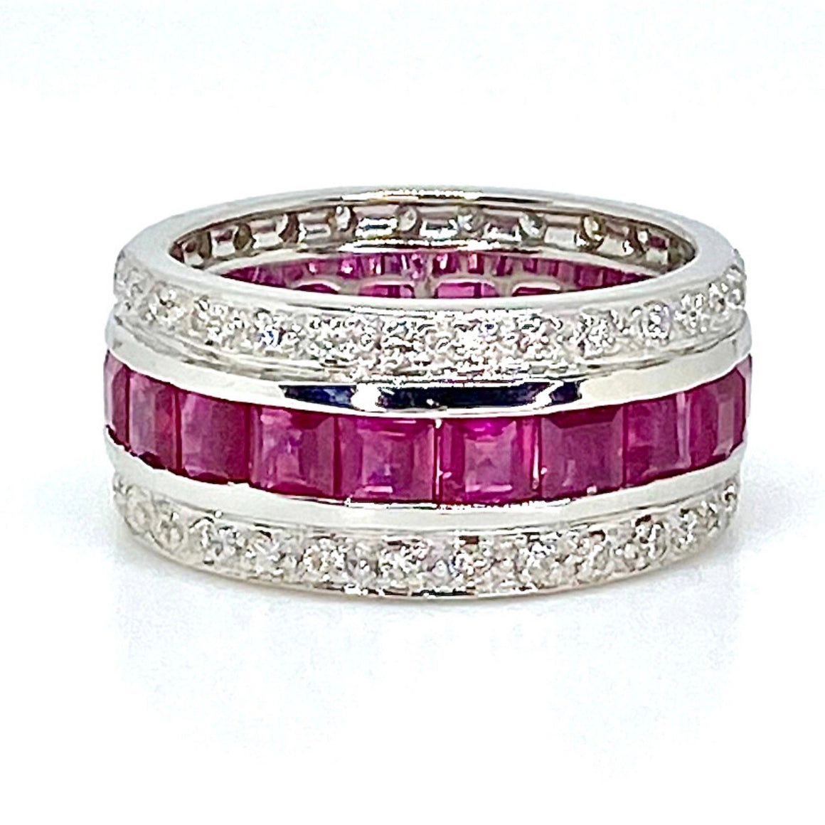 18K White Gold Ruby and Diamond Eternity Band Ring