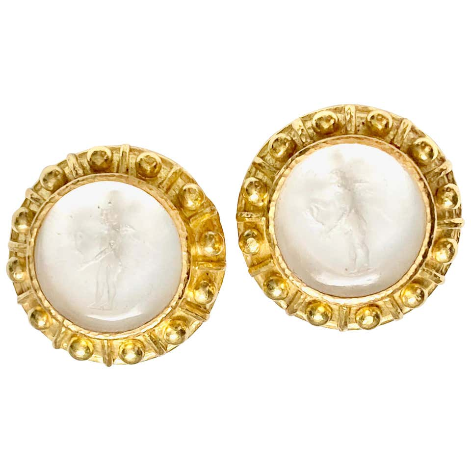 Elizabeth Locke 18 Karat Venetian Intaglio Earrings