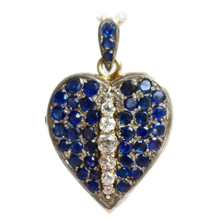 Late 1890s French Sapphire Diamond Silver Gold Heart Locket Pendant
