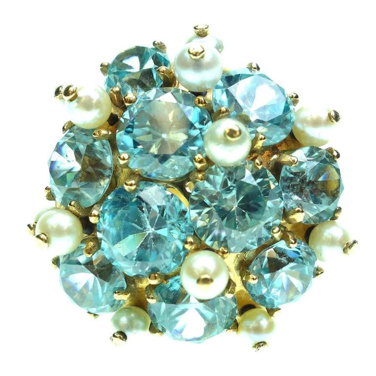 Vintage Blue Zircon and Pearl 14K Yellow Gold Ring