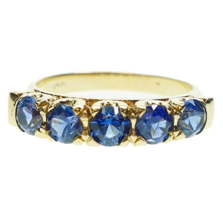 Antique Blue Sapphire Five Stone 14K Gold Ring
