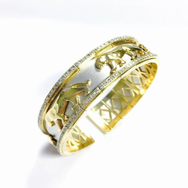 Two Tone Gold and Diamond Panther Flexible Cuff Bangle Bracelet