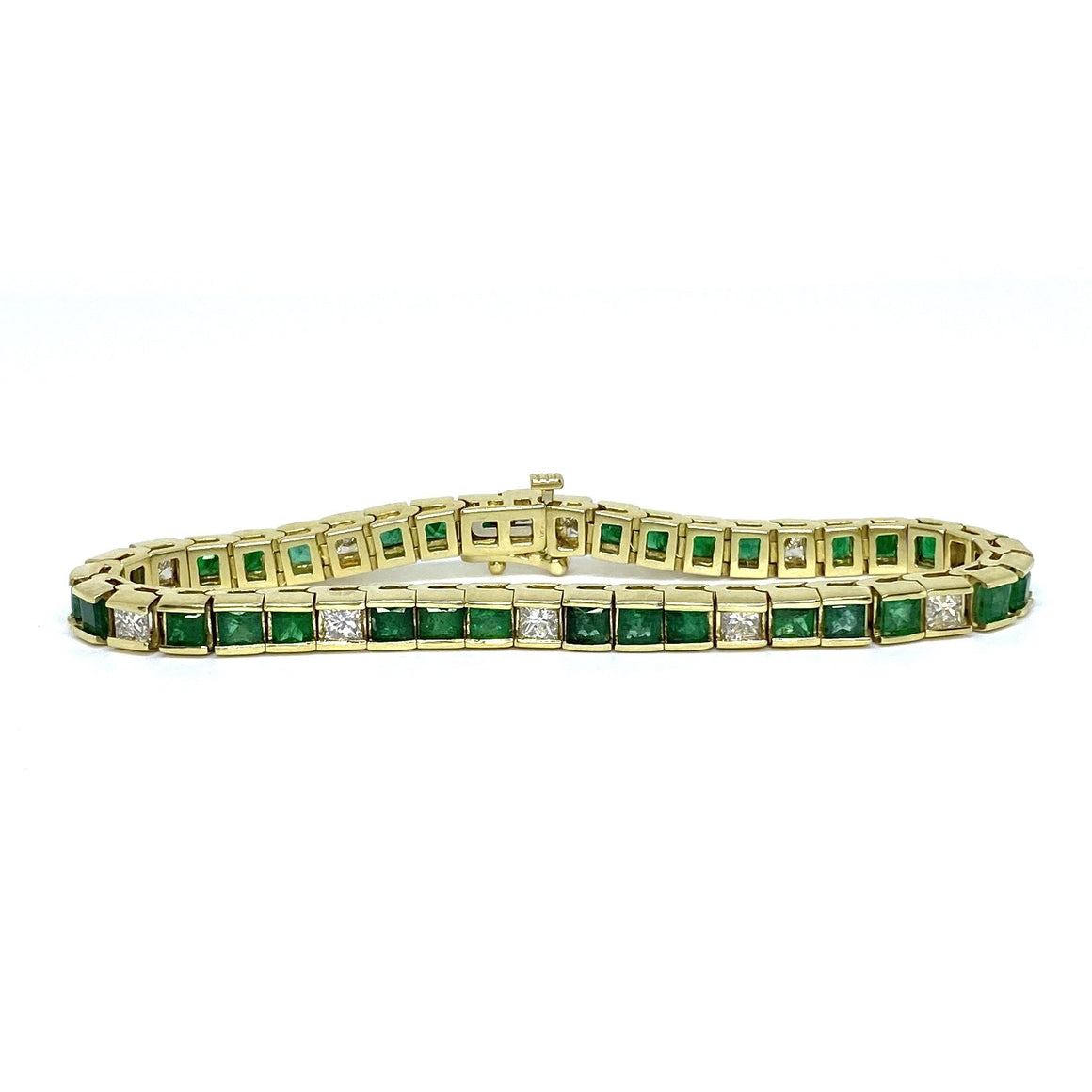 Vintage 14K Yellow Gold Emerald and Diamond Tennis Bracelet
